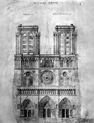 PARIS: NOTRE DAME, 1848.The western facade of Notre Dame cathedral in Paris, France. Wash drawing by Eug�ne Viollet-le-Duc, who led the restoration ...