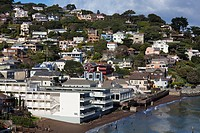 USA, California, San Francisco Bay Area, Marin County, Sausalito, elevated town view