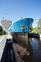 Cargo ship at Mustola lock in Saimaa canal Lappeenranta Finland