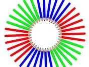 RGB colored pencils around. 3D