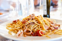Plate of calamari spaghetti
