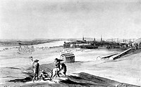 BOSTON: CHARLESTOWN, 1776.View of Charlestown in ruins, Bunker Hill, Noodles Island, North End and New Boston. Drawing by Archibald Robertson, 7 March...