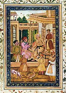 INDIA: MUGHAL EMPERORS.Three generations of Mughal emperors of India. Akbar, seated on a canopied dais, receives his son, Jahangir (in red turban). Th...