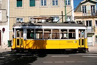 Portugal, Europe, Lisbon, tram, streetcar, yellow, traffic,