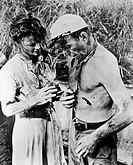FILM: AFRICAN QUEEN, 1951.Katherine Hepburn and Humphrey Bogart in 'African Queen' directed by John Huston, 1951.