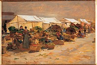 The Vegetable Market, by Cosola Demetrio, 1880 _ 1885, 19th Century, oil on panel