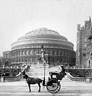 LONDON: ALBERT HALL, c1904.Horse and cart outside the Royal Albert Hall rotunda in London, England. Photograph, c1904.