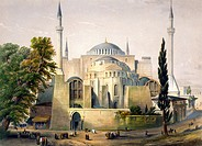 TURKEY: HAGIA SOPHIA, 1852.Exterior view of the Hagia Sophia, Istanbul (Constantinople). Lithograph by Louis Haghe, 1852.