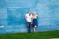 A young couple together outdoors in Spokane, Washington, USA.