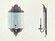 WALL CANDLE, 1774.Wall candle with reflector used in Carpenter's Hall, Philadelphia, for the First Continental Congress, 1774. Watercolor, c1840s.