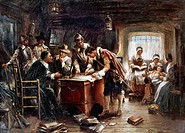 MAYFLOWER: COMPACT, 1620.The pilgrims signing the Compact aboard the Mayflower off the coast of Provincetown, Massachusetts, 11 November 1620. Paintin...