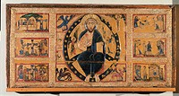 The Saviour Blessing, by Master of/from Tressa, 1215, 13th Century, Dossale d´altare