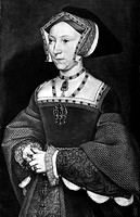 JANE SEYMOUR (1509-1537).Third wife of King Henry VIII of England. Painting by Hans Holbein the Younger, c1536.