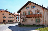 Travel, Geography, Architecture, Europe, Switzerland, Graubunden, Grisons, Munstertal, Fuldera, Village, House, Swiss Alps, Mountain, Valley, Tranquil...