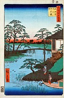 JAPAN: INLET, 1857.Two women approaching a temple building on the Uchigawa Inlet in Tokyo, Japan, next to the Gozensaihata gardens. Woodblock print by...