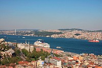 Istanbul, Turkey, overview, Bosporus, Asia, canal, channel, Beyoglu, town, city, roofs, travel, tourism,