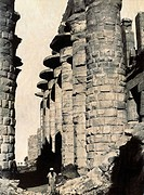 EGYPT: THEBES.Stone columns at Karnak, Egypt, once part of the ancient city of Thebes. Photograph by Antonio Beato, c1885.