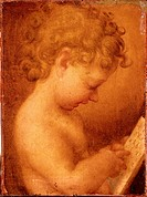 Little Putto Praying or Young Boy Reading, by copy from Allegri Antonio detto Correggio, 16th Century, Unknow