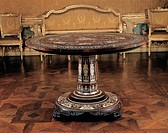 Table, by Capello Gabriele, 1842, 19th Century, mahogany wood, avory inlaid