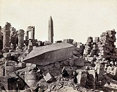 EGYPT: KARNAK RUINS.A standing and a fallen obelisk at Karnak, Egypt. Photograph by Francis Frith, c1860.
