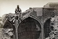 SAMARKAND: MAUSOLEUM RUINSMan seated on the ruins of a mausoleum in Samarkand. Photograph, c1870.