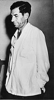 CHARLES 'LUCKY' LUCIANO(1897-1962). American gangster. Luciano in the Tiscornia immigration camp in Cuba, awaiting to be deported to Italy, February 1...