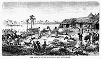 AFRICA: SLAVE TRADE.Manyema being massacred by Arab slave traders at a marketplace in Nyangwe, in the eastern Congo, 1871. Wood engraving after Johann...
