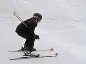 Young girl skiing in Vail, Colorado