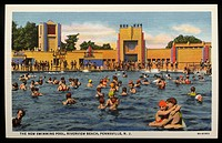 Swimming Pool at Riverview Beach. ca. 1936, Pennsville, New Jersey, USA, THE NEW SWIMMING POOL, RIVERVIEW BEACH, PENNSVILLE, N.J. Pool 75x150 feet wit...