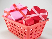 Heart Shaped Gift Boxes in Basket