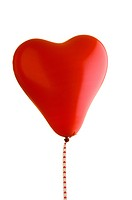 Close_up of a red heart shaped balloon