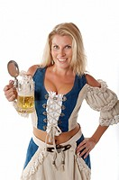 Oktoberfest woman in traditional german dirndl outfit with beer mug