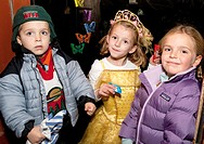 Young tricks or treaters waiting for their Halloween candy  St Paul Minnesota MN USA