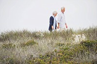 Senior couple walking on the beach with holding hands of each other
