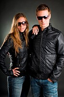some with leather jackets and sunglasses