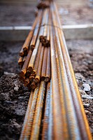 close up of reinforcement steel metal rods