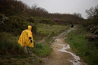 Pilgrims walk in a track located in the French Way that leads to Santiago de Compostela, Castilla Leon region, Spain. Hundred of thousands pilgrims wa...
