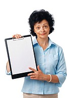Elder woman holding a clipboard and showing something over white