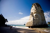 Rock formation in Cathedral Cove, North Island, New Zealand