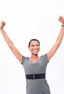 Enthusiastic businesswoman raising her arms