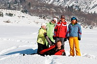 Friends in winter mountain