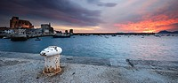 Bay of Castro Urdiales at sunrise with South wind, Cantabria, Spain