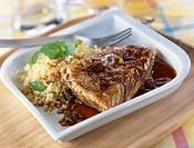 Cod glazed with honey