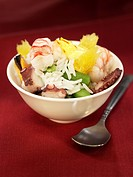 Rice and seafood salad