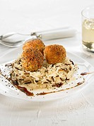 Pumpkin Croquettes with white and wild rice,soya sauce and poppy seeds