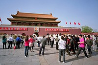 Groups of tourists at the Entrance Gate to the Forbidden City, Beijing