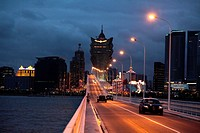 The skyline of central Macau from Macau-Taipan Bridge aka Porto Governador Nobre de Carvalho Bridge  Macau  China