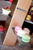 Macarons and other French style desserts as welcome gift display in the hotel room of Hotel Sofitel Macau at Ponte 16, Macau, China