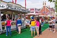 An outdoor refreshment stand at the Tulip Time festival in Holland, Michigan, USA