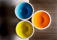 Three bowls, blue, yellow and orange